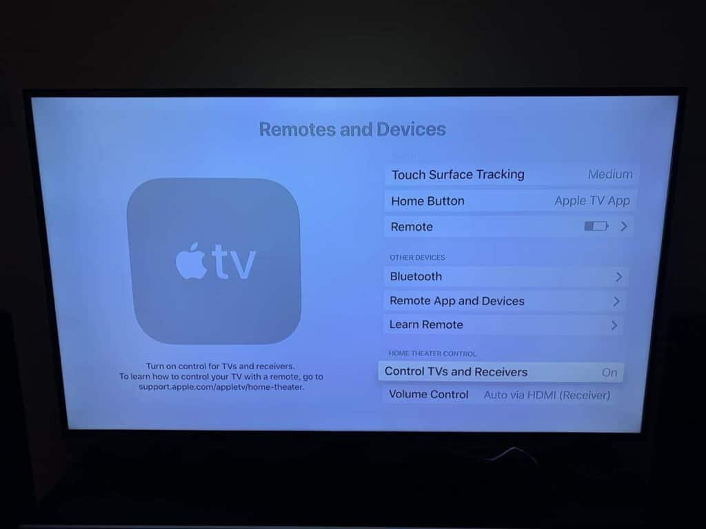 Screenshot of the HDMI-CEC settings for Apple TV