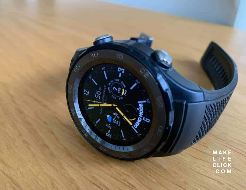 Huawei Watch 2 Sport LTE with Marina Commander Face Side View