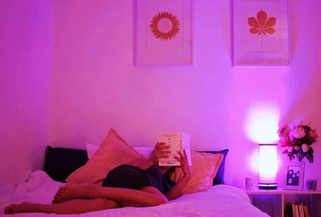 Lifx A19 Light Bulb with Review - Lifx A19 lighting a bedroom red