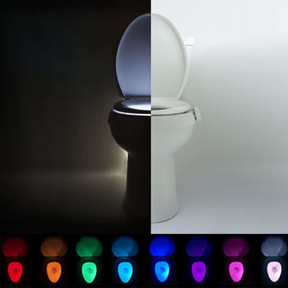 Night Light in Toilet with bright, colorful lighting examples.
