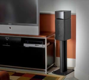 Atlantic Technology Dolby Atmos Speaker on a stand
