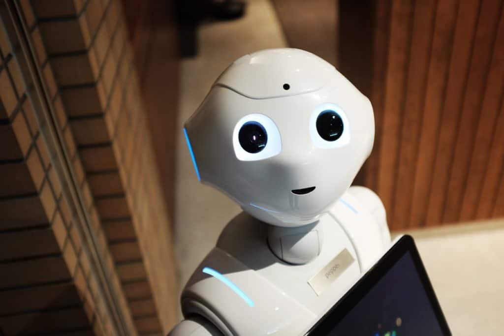 Robot gadget staring at camera