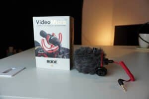 Rode VideoMicro with Retail Box on desk