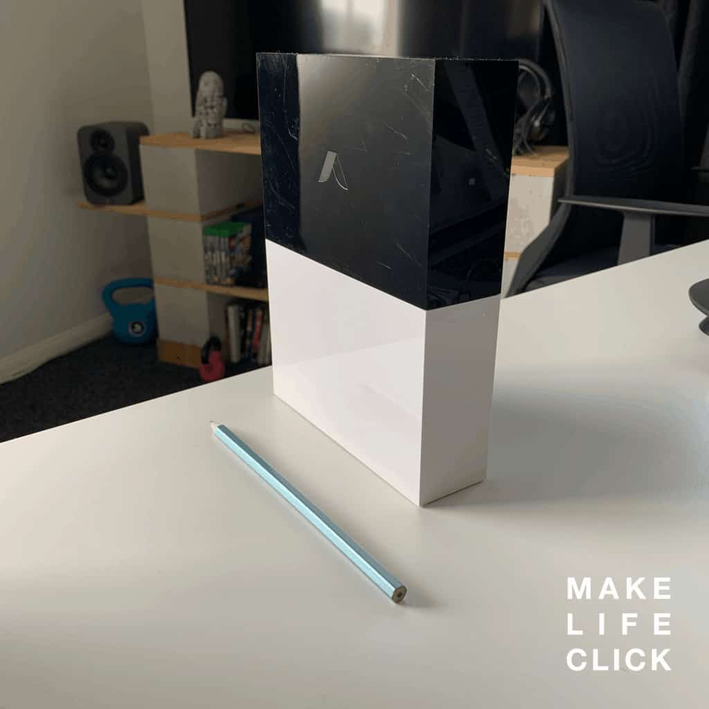 Showing the back of the Abode smart home hub
