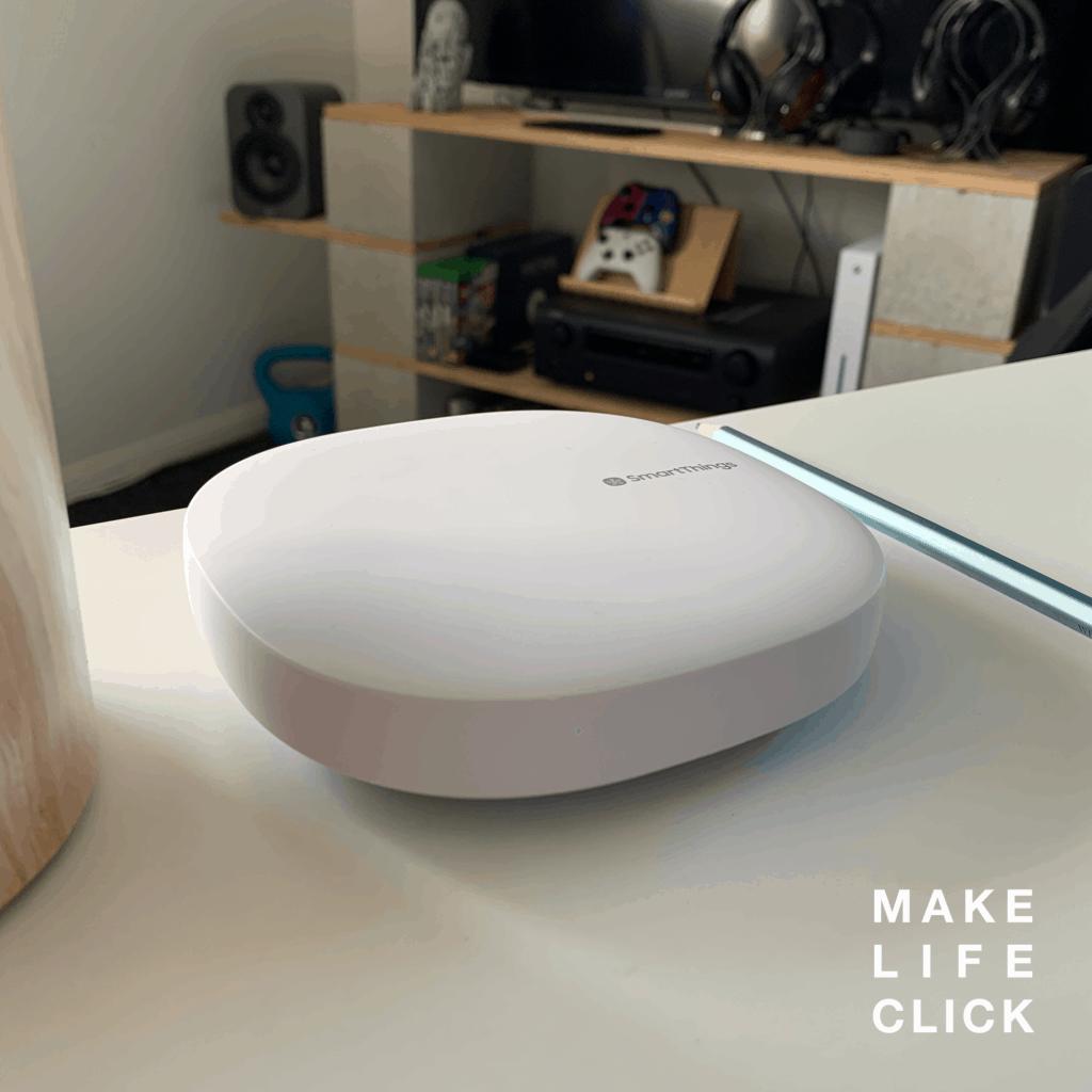 SmartThings z-wave hub on table
