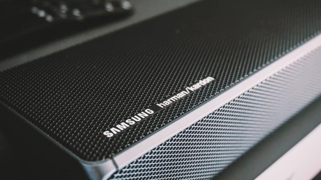 Samsung HW-Q90R Best Dolby Atmos Soundbar close up on left end of speaker