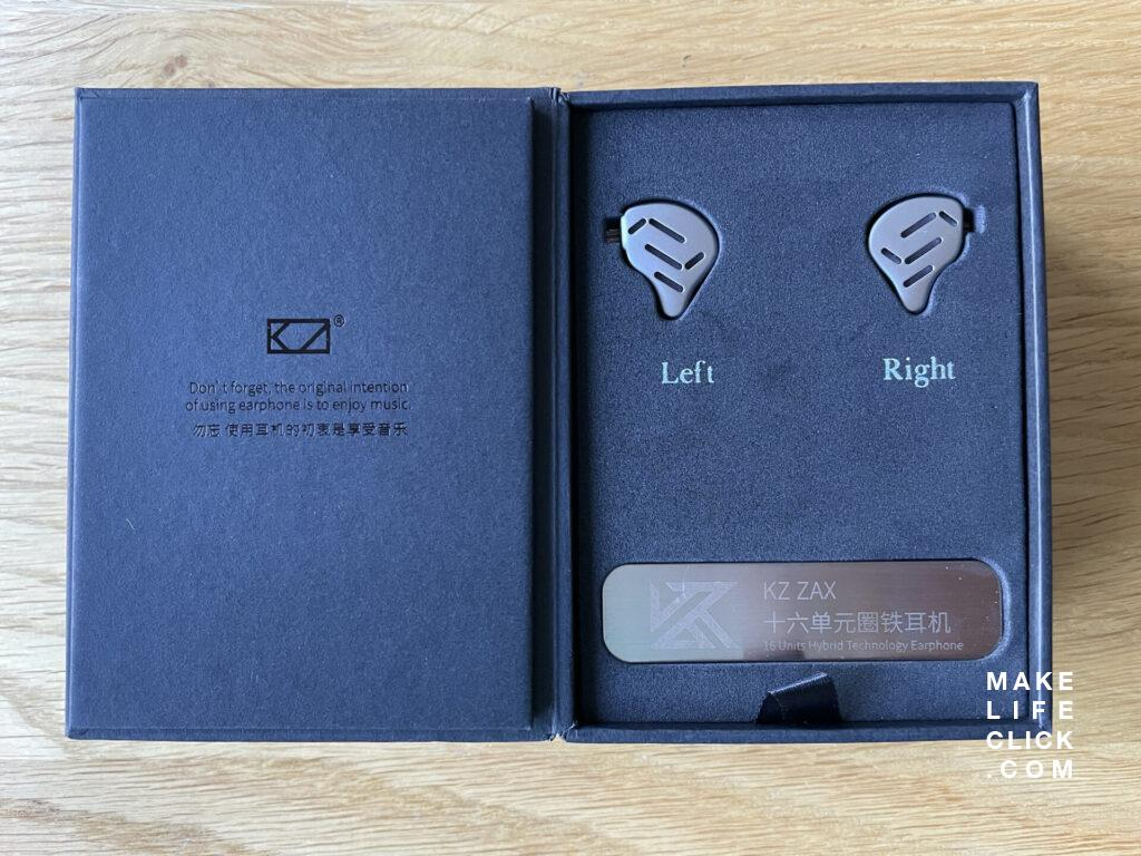 KZ Zax IEM Retail Box open and sitting on table.