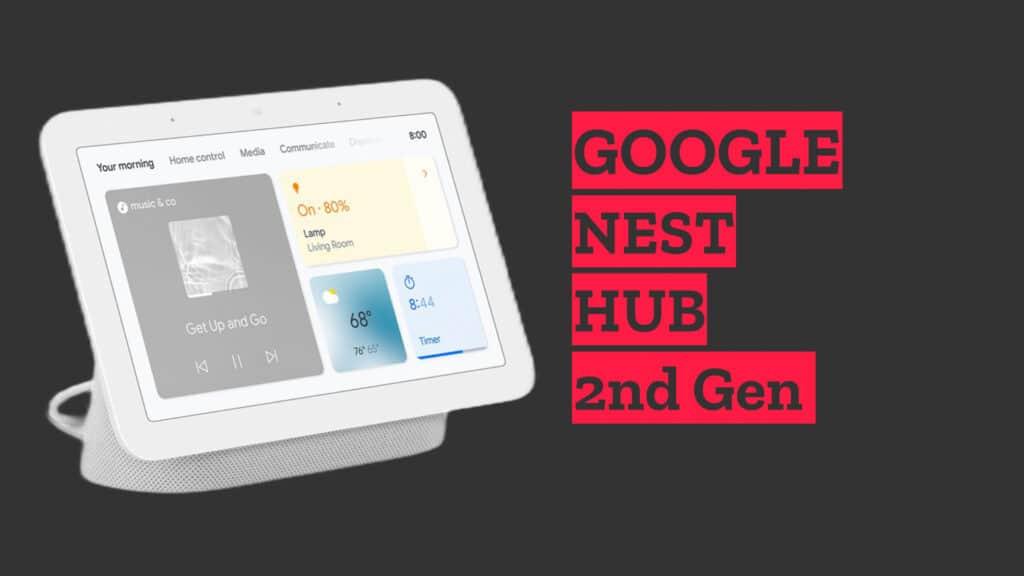Google Nest Hub Smart Home Device on grey background