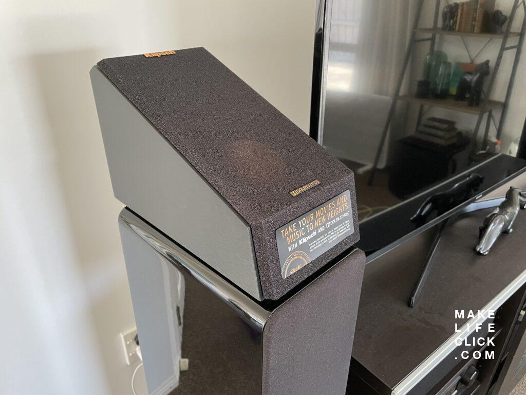 Klipsch Dolby Atmos Height Speakers up close on top of Q Acoustic Concept 40 floor standing speakers