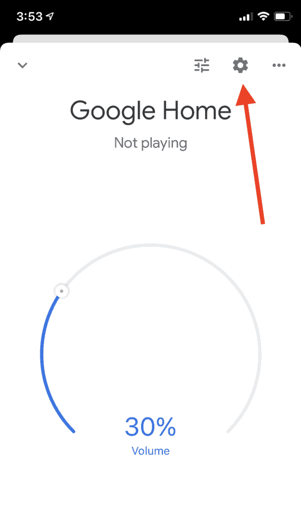 Google Home Screenshot with the settings icon highlighted