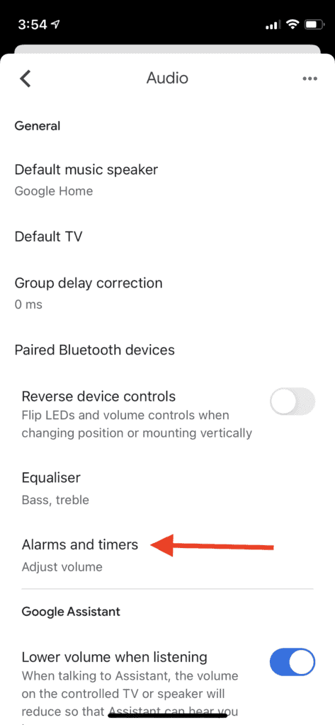 Google mini showing alarms and timer settings