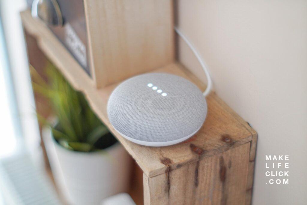 Google Mini Smart Home Speaker on wooden shelf for Future for Smart Homes post