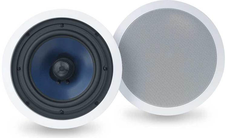 Polk Audio RC80i outdoor ceiling speaker with grill on and off