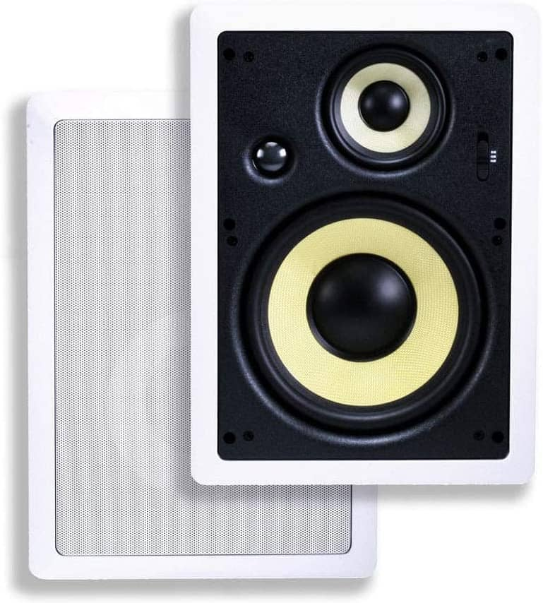 Monoprice 6816 Square Ceiling Speaker on white background with the front grill off and on
