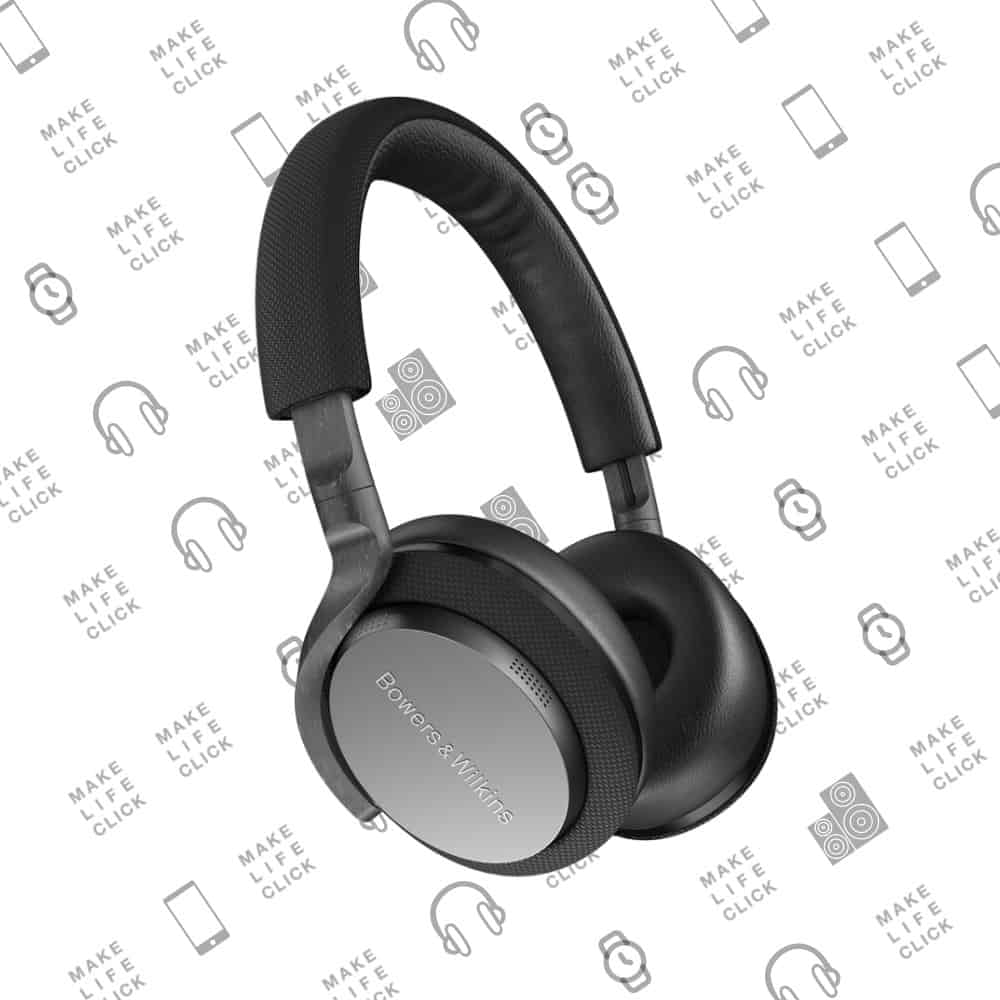 Bowers & Wilkins PX Wireless Headphones for commuting on background with logos
