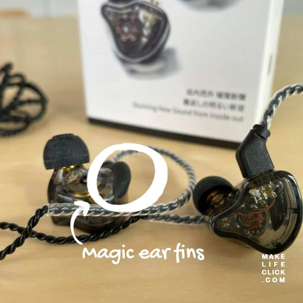 CCZ Melody IEM review with ear fins showing circled in white outline