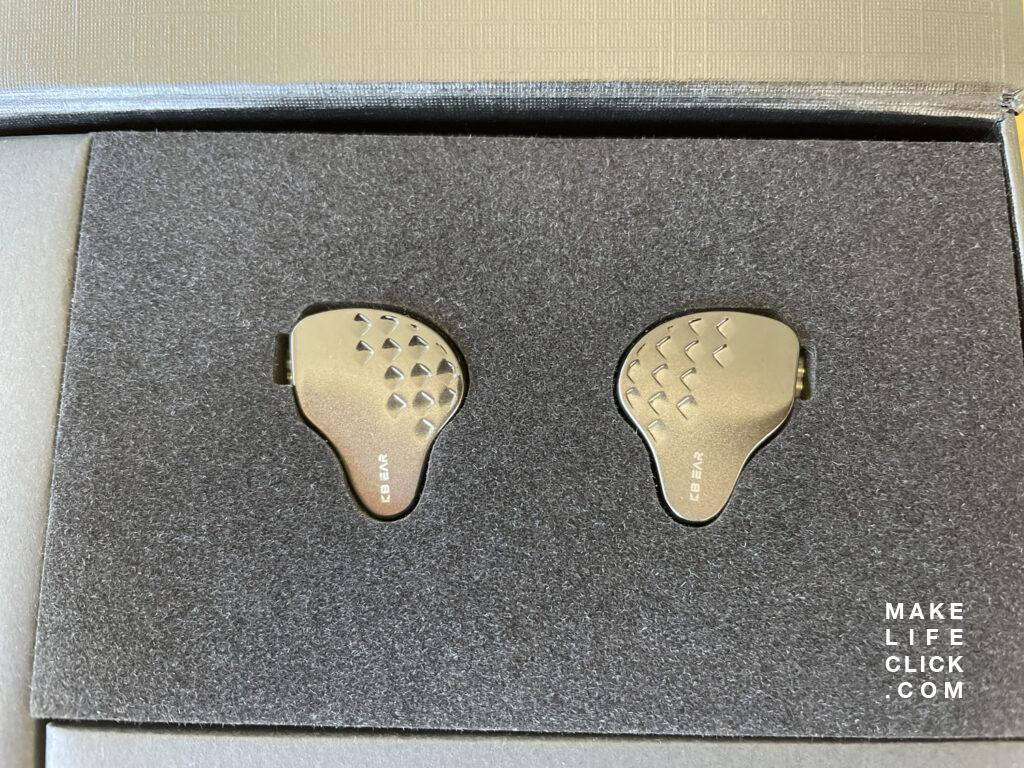 KB EAR In-ear monitors up close in the retail box