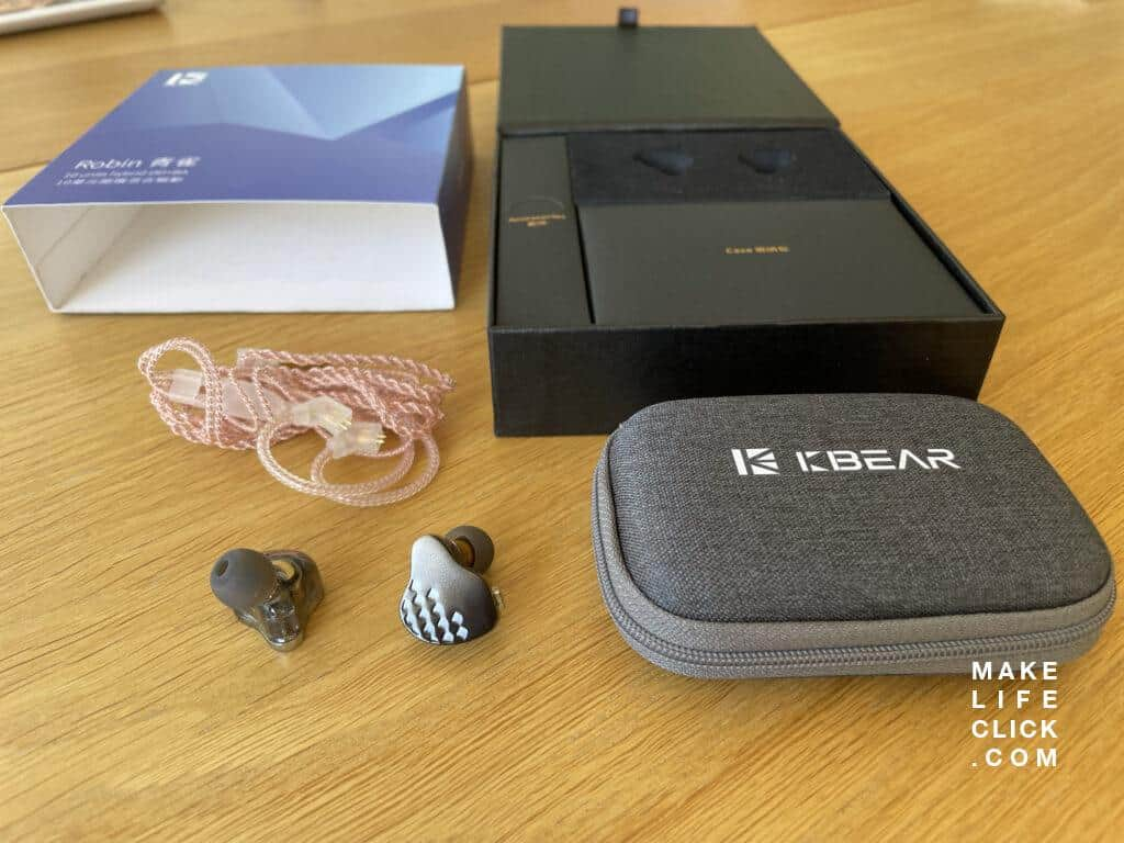 KB EAR Robin retail box with all included accessories on the table including cable, IEM, carry case, additional ear tips.